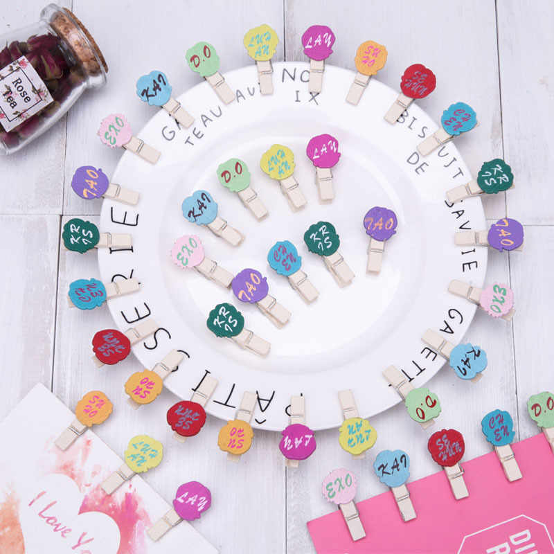 Cartoon EXO-3.5 Cm Wood Small Clip Color Wooden Clip Message Photo Snacks Notes Folder With Hemp Rope