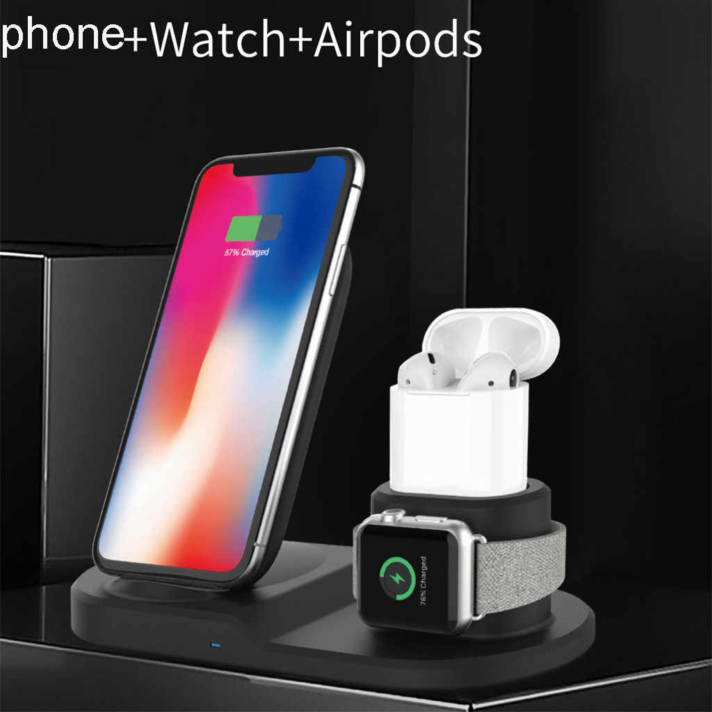 3 in 1 10W Fast Wireless Charger Dock Station Fast Charging For iPhone XR XS Max 8 for Apple Watch 2 3 4 AirPods For Samsung s10