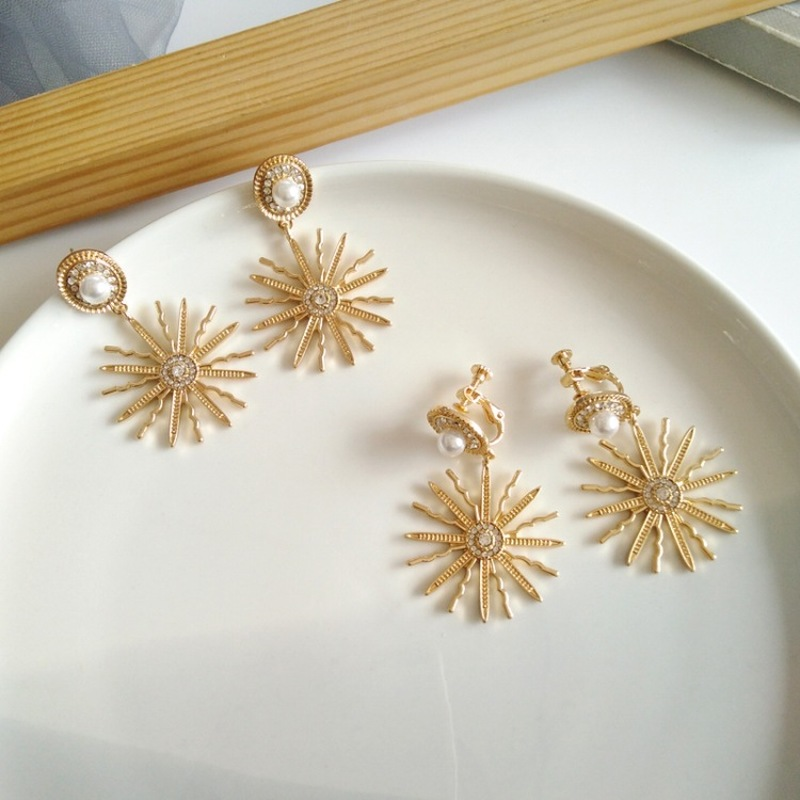 European And American Creative Metal Texture Sun Flower Clip Earrings Personality Fashion Girl Women's Jewelry Accessories