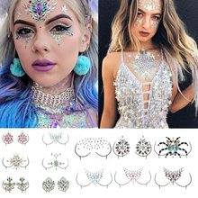 3D Acrylic Crystal Chest Jewels Face Decoration Drill Diamond Tattoo Drill Paste Resin Music Festival Party Rhinestone Stickers(China)