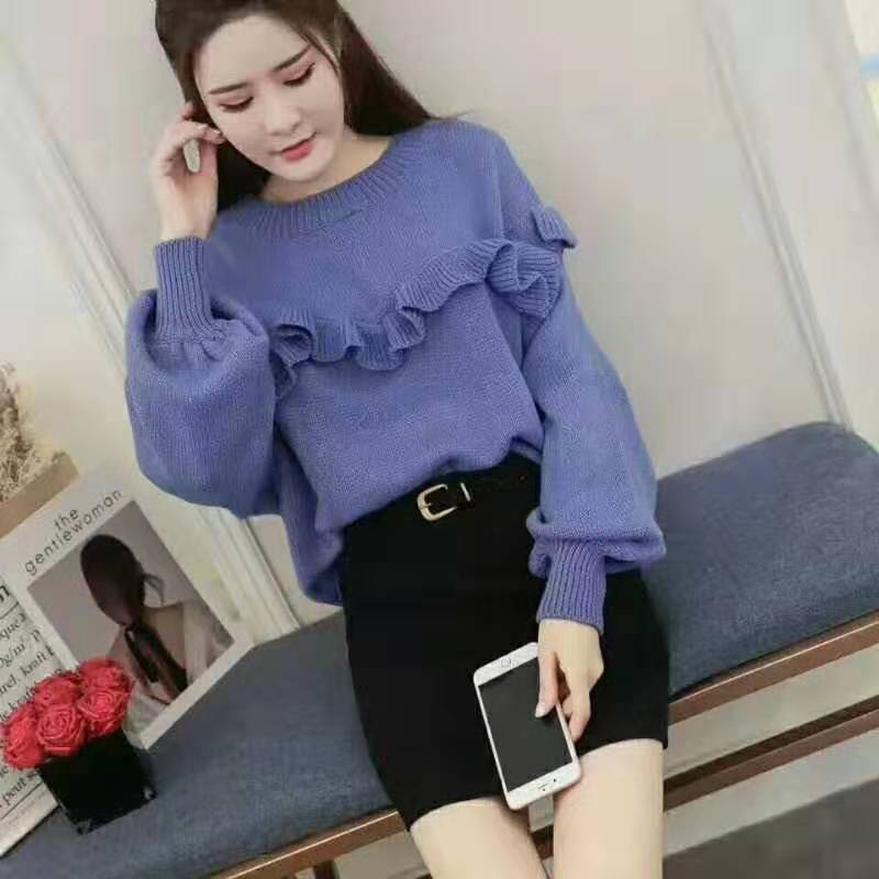 Women's 2020 Spring And Autumn Women's Loose Frill Casual Temperament Long Sleeve Pullover Bottoming Shirt Sweater