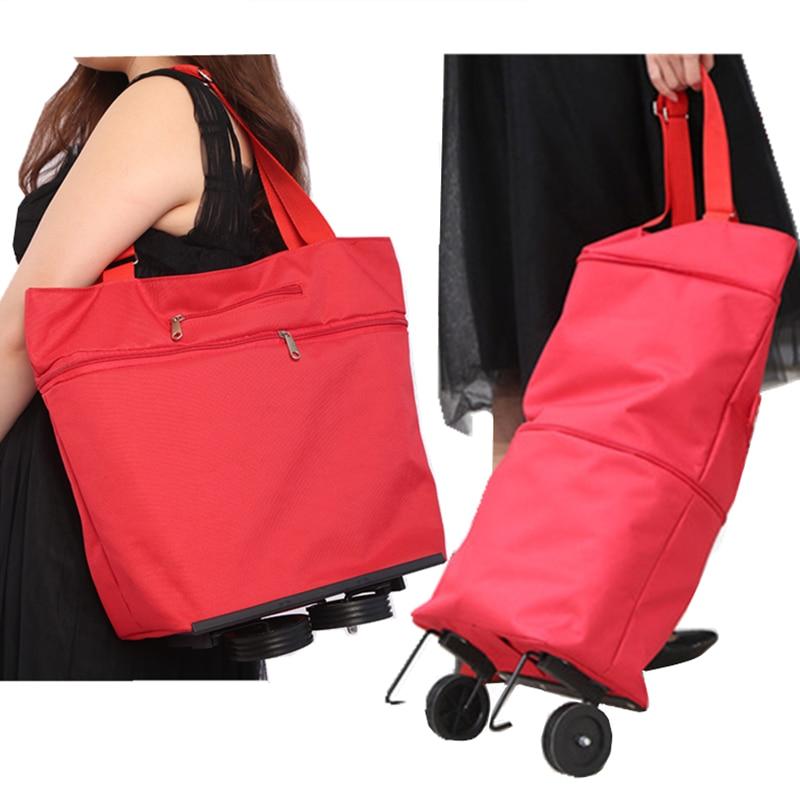 New Folding Shopping Bag Shopping Cart On Wheels Bag Small Pull Cart Women's Buy Vegetables Bag Shopping Organizer Tug Package