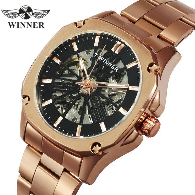 WINNER reloj Automático Vintage oficial para hombre, mecánico de esqueleto, reloj de vestir clásico de lujo, masculino