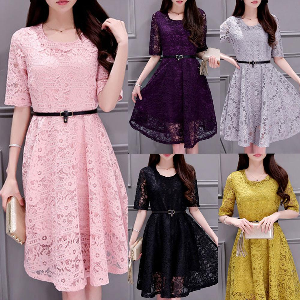 Women Korean Style Skirt Dresses Dinner Lace Dress Fashion Women Solid Color Lace Plus Size Cut out Half sleeves long Dre