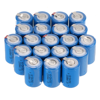 12/16/20pcs Lot 4/5 Sub C SC 1.2V 2200mAh NiCd Blue Rechargeable Battery with Tap image