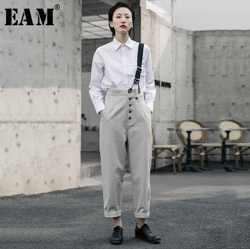 [EAM] High Waist Geay Button Split Joint Leisure Trousers Overalls New Loose Fit Pants Women Fashion Spring Autumn 2020 1R5860