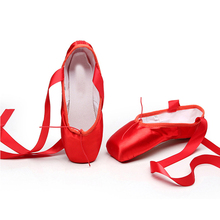 лучшая цена Pointe Shoes Dance Slippers High Quality Ballerina satin ballet pointe shoes professional dance shoes for women girls red ballet