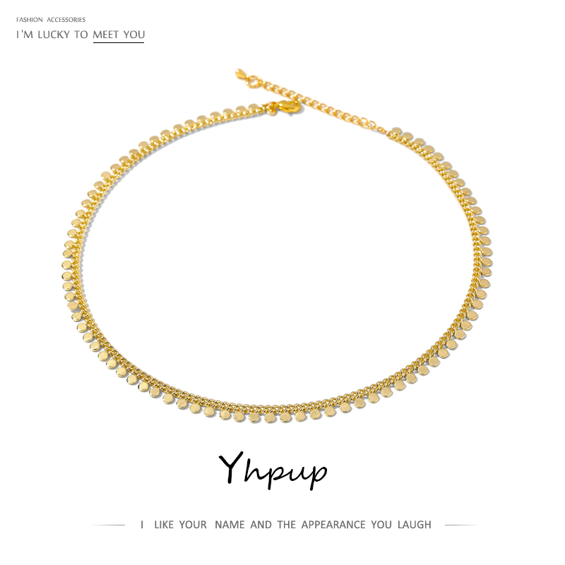 Yhpup New Metal Collar Necklace for Women Simple Geometric Chain Necklace Copper Jewelry Female Choker Gift Accessories 2021