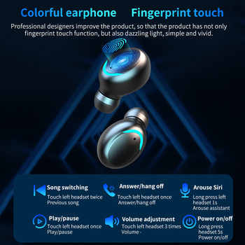 DODOCASE F9-V5.0 Bluetooth 5.0 Earphones TWS Fingerprint Touch Headset HiFI Stereo In-ear Earbuds Wireless Headphones for sport 2