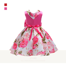 Girls Christmas Dress Princess Casual Bow Sleeveless Print Floral Patchwork Ribbons Ball Gown Drop shipping girls floral print bow back mesh overlay dress
