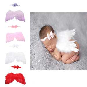 Baby Angel-Wings Halloween-Costume Flower Lace Newborn Photography-Prop Headband-Set