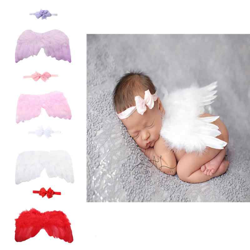 Newborn Baby Girl Clothes Baby Photography Prop Feather Angel Wings Lace Flower Headband Set Halloween Costume Baby Clothing