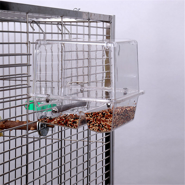 220ml Automatic Bird Food Feeder Hanging Cage Water Drinker Transparent Acrylic Parrot House Feeding Tools for Mannikin Sparrow 2