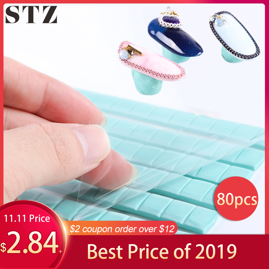 STZ 80pcs Adhesive Glue Clay For Nail Tips Non-trace Reusable Blue Clay Sticky False Nails Holder Manicure Practice Tools #907