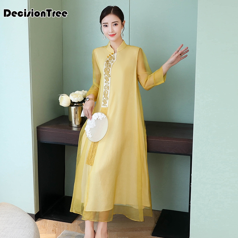 2020 Rayon Traditional Chinese Women Simple Dress Vintage Lady Floral Vietnam Aodai Qipao Full Sleeve Mesh Cheongsam Dress