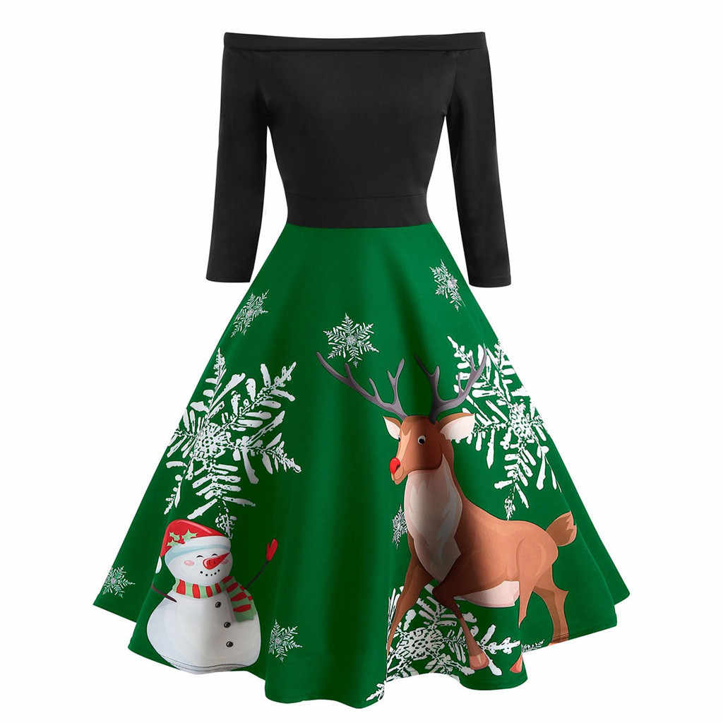 Vestidos de Navidad mujer muñeco de nieve y Elk Vintage bata Swing Pinup elegante vestido de fiesta de manga larga Casual talla grande estampado negro