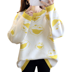 2019 Pattern Female Knitted Sweater Sleeve Round Collar Long Sleeve Plus Size  Womens Sweater  Winter Clothes Women Office Lady