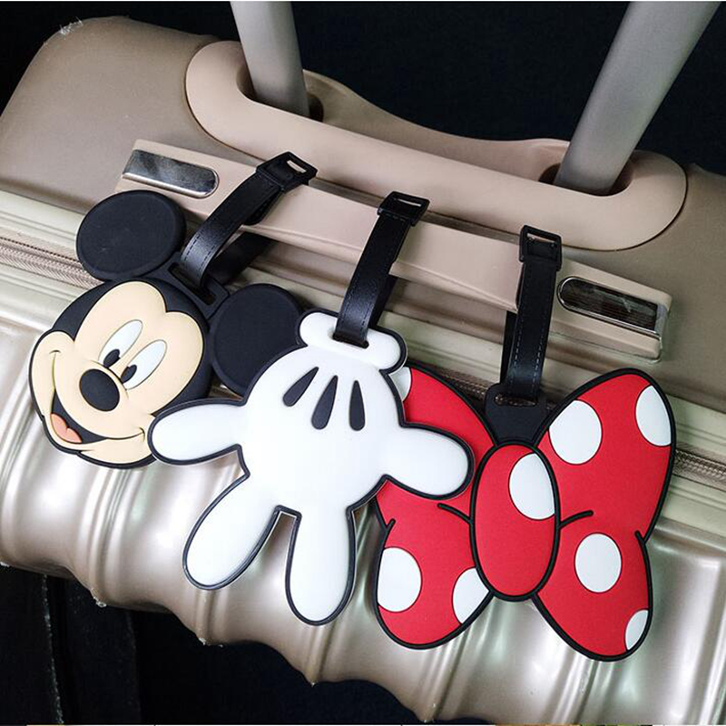 Cartoon Minnie Mickey Luggage Tag Silica Gel Travel Accessories Portable Label Suitcase ID Address Holder Women Baggage Boarding