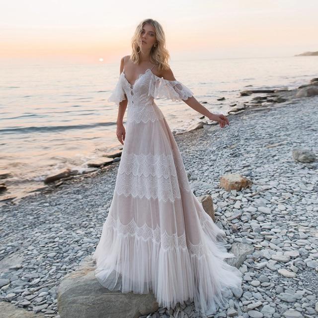 Spaghetti Straps Bohemian Boho Beach Wedding Dresses Nude Champagne Off the Shoulder Bridal Dresses Vestidos De Renda 1