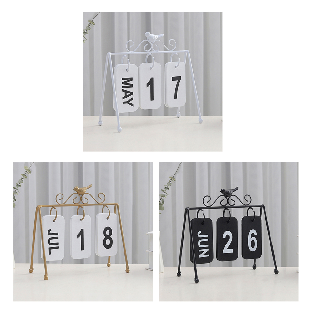 2020 New Year European Wrought Iron Flip Calendar Creative Bird Decoration Durable Desktop Ornaments Yearly Agenda Organizer New