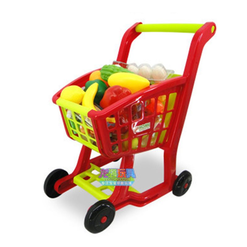 Childrens Shopping Trolley Cart Play Food Set Kids Pretend Shop Push Along Toy Shopping Trolley Cart
