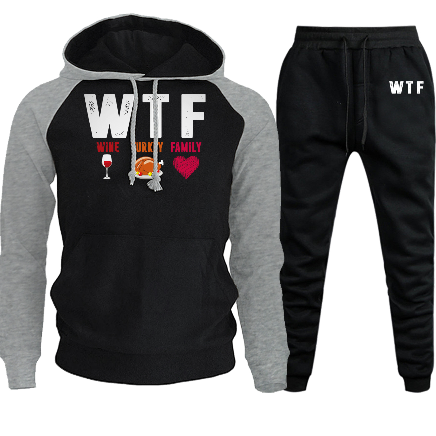 WTF Wine Turkey Family Streetwear Men Raglan Hoodie Suit Autumn Winter New Casual Hoodies Fleece Suit Pullover+Pants 2 Piece Set