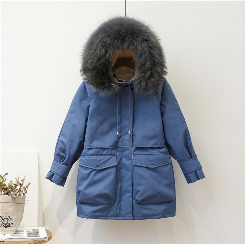 Winter Down Coat Female Brand Clothes 2019 Warm Duck Down Jacket Women Fashion Down Parka Raccoon Fur Coats Hiver LW1626