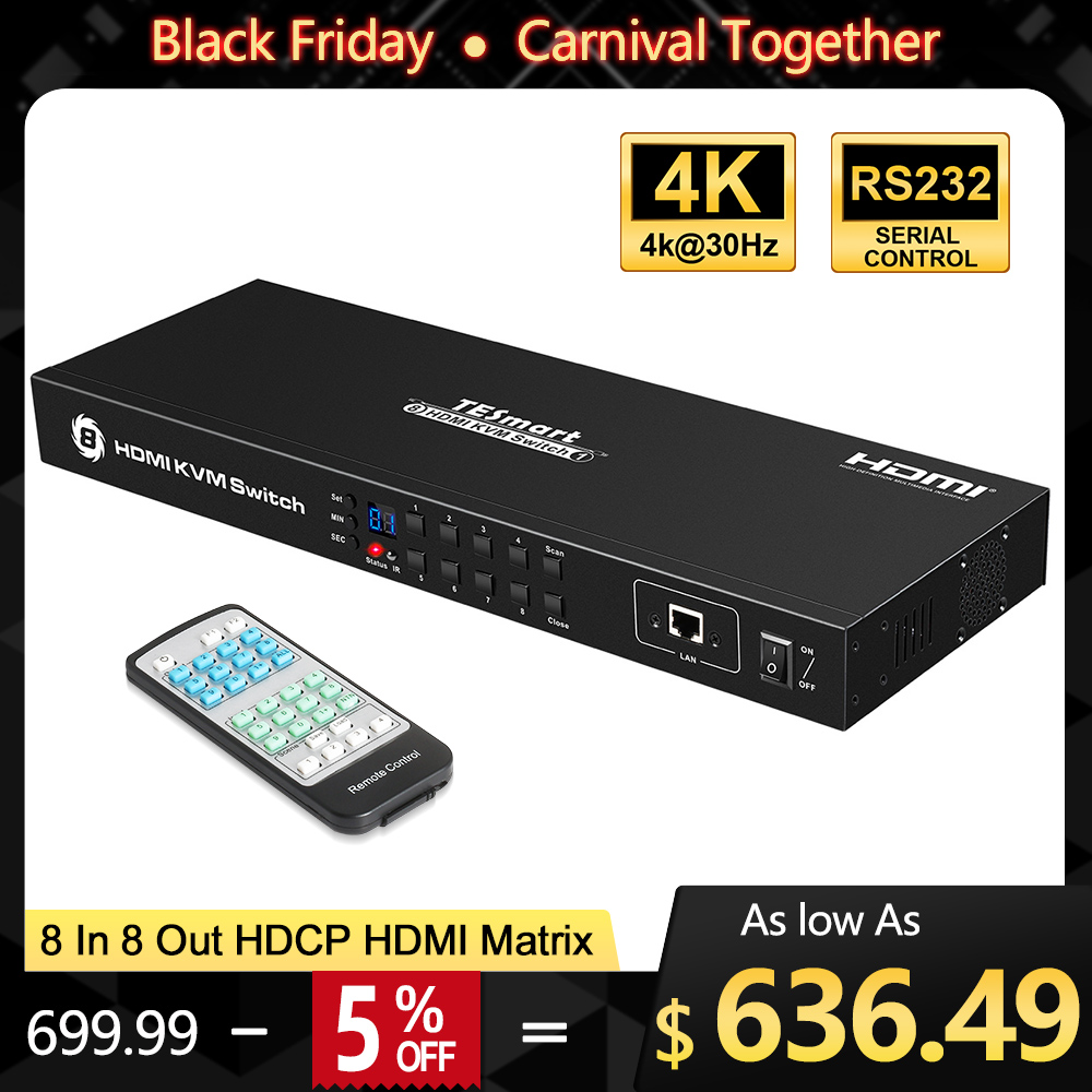 DHLFree Fast Ship 4K2K Ultra HD HDMI Matrix  8 In 8 Out Matrix HDMI 8x8 With RS232/LAN 2Pcs 1U Rack Ears 4K Full HD1080P@60Hz 3D