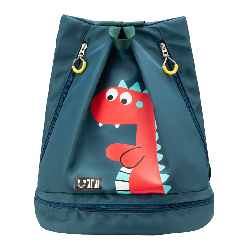 Waterproof Swimming Bag Nylon Cartoon Beach Backpack Wet And Dry Travel Bagpack With Independent Shoes Bag For Children