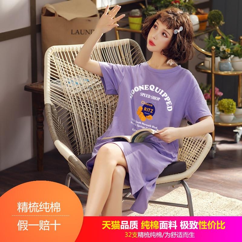 Pure Cotton Pajamas Women's Japanese Korean Maternity Clothes Time Of Childbirth Skirt Mid-length T-shirt Dress Couples Pajamas