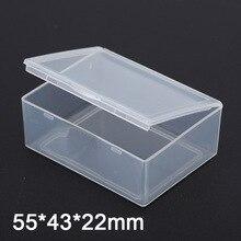 Caja rectangular de plástico transparente para guardar monedas, contenedor para tornillos, 5,5x4,3X2,2 cm, 50 unidades por lote
