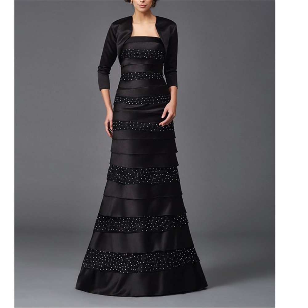 Black Satin And Lace Mother Of The Bride Dresses Sheath Appliques Beading Vintages Full-Length Vestidos De Novia With Jacket