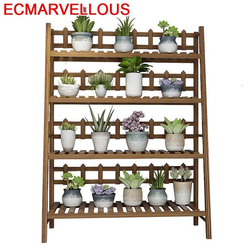 Plantenstandaard Wooden Shelves For Wood Suporte Flores Estanteria Escalera Dekoration Outdoor Flower Shelf Rack Plant Stand