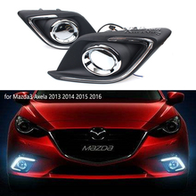 цена на Turn Signal Light And Dimming Style Relay 12V LED Car DRL Daytime Running Lights With Fog Lamp Hole For Mazda 3 Axela 2014 2015