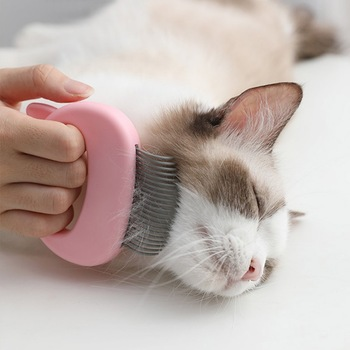 Pet Massage Brush Shell Shaped Handle Pet Grooming Massage Tool   2