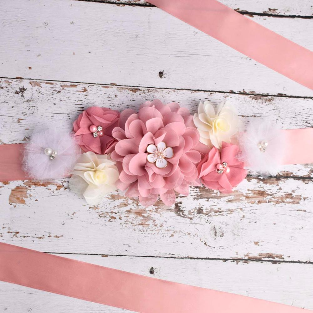 Maternity Sash Pregnancy Belly Belt Baby Shower Sash Postpartum Belt  Photo Props Bride Wedding Floral Sash Pregnant Accessory