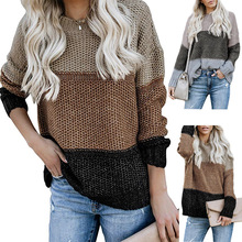 Autumn winter striped knit sweater fashion color matching pullover chic women
