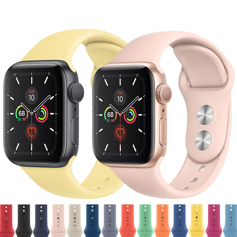 Silicone <font><b>Apple</b></font> <font><b>Watch</b></font> Band 44 mm/40mm <font><b>correa</b></font> iwatch Band 38mm <font><b>42mm</b></font> Sport Bracelet Rubber Watchband for <font><b>Apple</b></font> <font><b>Watch</b></font> 5 4 <font><b>3</b></font> 2 1 image