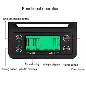Image 5 - 5kg/0.1g Mini Digital Electronic Kitchen Scales Libra with Timer Barista Coffee Scale Table Cooking Food Scales for The Kitchen