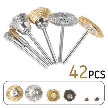 42 szt Metalowa mosiężna szczotka druciana szczotki koła młynek do mielenia elektronarzędzie obrotowe do grawerowania tanie i dobre opinie Hands DIY POLEROWANY Mosiądz drut Szczotka z drutu mosiężnego Wire Wheel Brushes