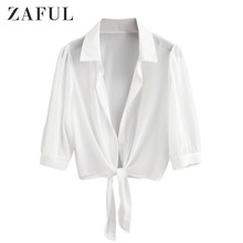 Zaful Tie Hem Semi Sheer Tanaman Menutupi Top Putih Beach Top Blus Wanita Atasan Bikini Swimsuit Beachwear(China)
