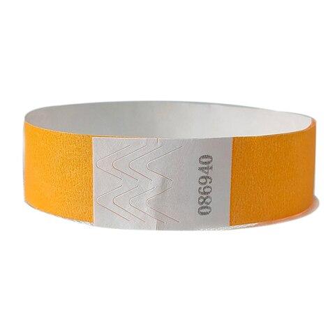 500 pecas cor alaranjada neon 3 4 polegadas tyvek pulseiras com numero pulseiras de cor