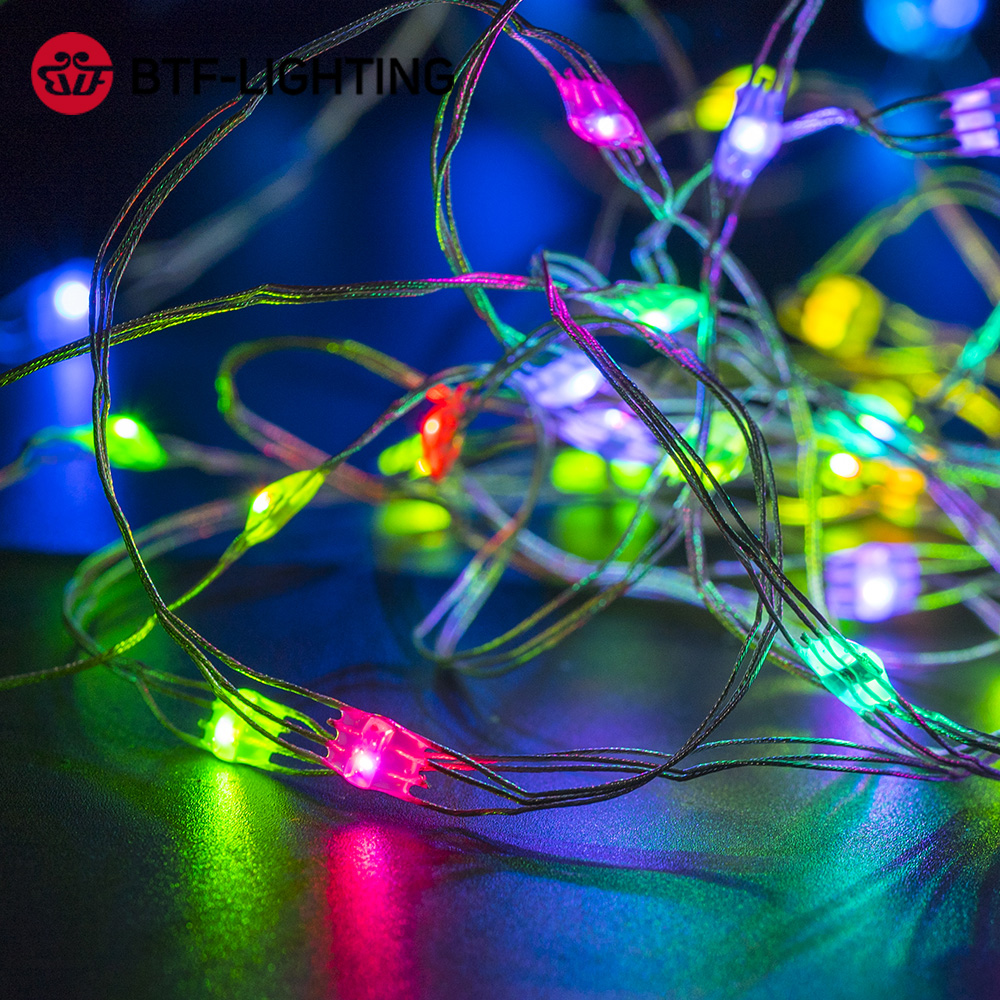 50pcs/string WS2812B RGB LED Module WS2812 IC LED Module 5-6m String Music Controller Individual Addressable 4 Color Wires DC5V