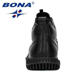 Image 3 - Мужские кроссовки на шнуровке BONA, черные уличные кроссовки с высоким берцем, на плоской подошве, Осень зима 2019