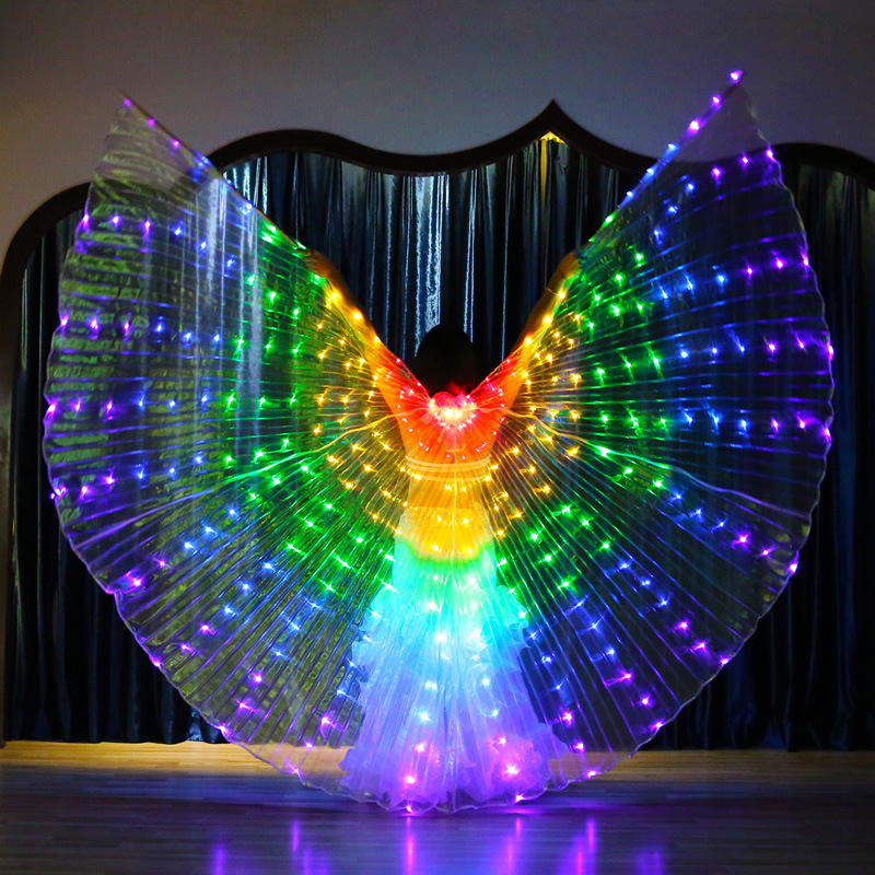 Belly Dance Accessories Led Wings With Adjustable Sticks Stage Performance Props Shining Led Wings Open 360 Degrees #PS003