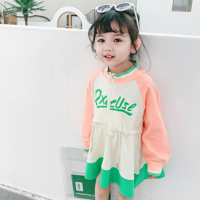 CNUM Summer Fashion Girls Camouflage Long Sleeve Dress Solid Cotton Casual Sports Style Cute Sweet Solid Dresses Kids Clothes