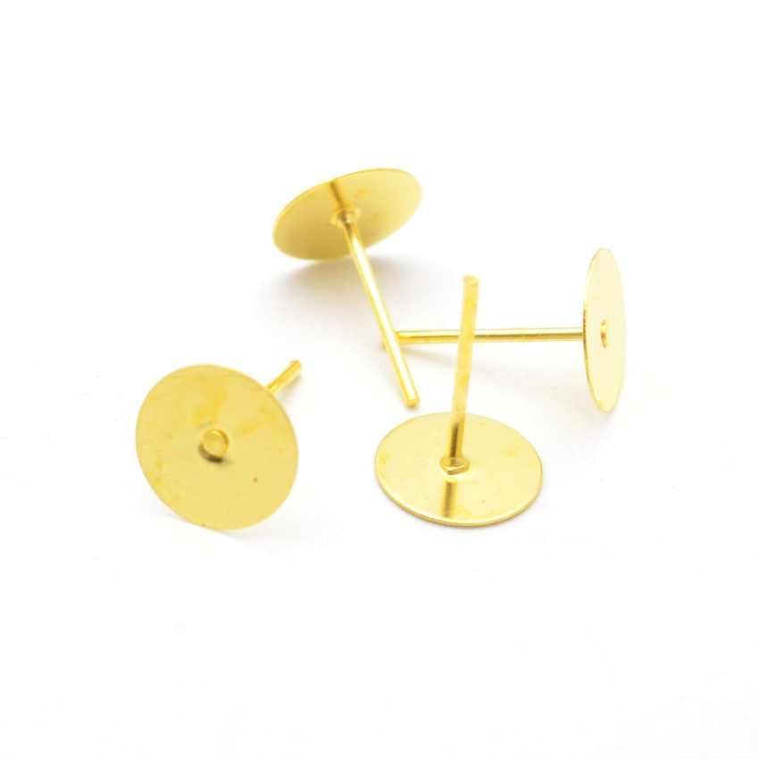 Risultati Dei monili Fai Da Te 50/100pcs In Bianco Posto Rotonda e Piatta Viti Prigioniere Dell'orecchino Spilli per Dell'orecchino di Risultati Dei Monili