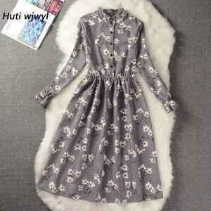Image 1 - Corduroy High Elastic Waist Vintage Dress Autumn Winter Women Full Sleeve Floral Midi Dress Bodycon Party Sexy Vestido 25 Colors