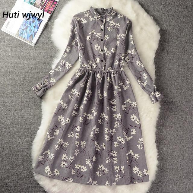 Corduroy High Elastic Waist Vintage Dress Autumn Winter Women Full Sleeve Floral Midi Dress Bodycon Party Sexy Vestido 25 Colors