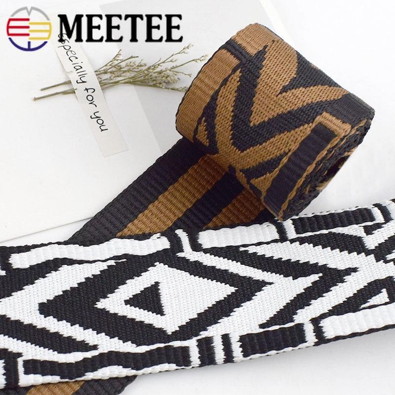 Meetee 4 метра 5 см 2 мм Толстая полиэфирная жаккардовая пустотелая тесьма сумка ремень тесьма лента для самодельного украшения одежды текстиль...